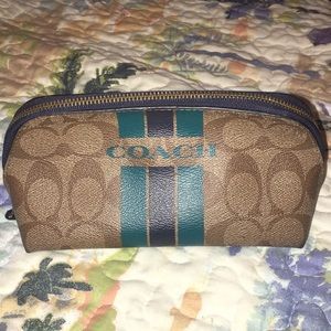 Coach Teal Varsity Stripe Cosmetic Makeup Pouch